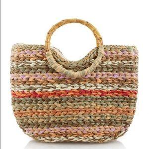 Handbags - Brit Bamboo Handle Bag- Orange Multi